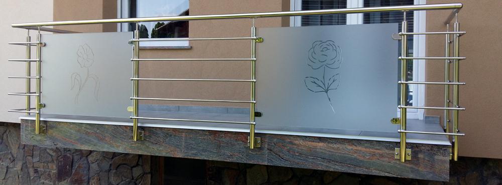 Inox ograja z kobminacijo steklenega polnila